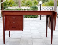 """Vintage DANISH MODERN Mid Century TEAK Drop-Leaf DESK by E W BACH / Eames Vodder - 47"""" x 25.75"""" and 29"""" tall; Measures 64.5"""" long with drop-leaf fully extended :: $1,295.00"""