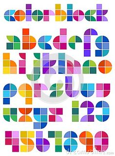 Color Block Abstract Alphabet by Connie Larsen, via Dreamstime Calligraphy Letters Alphabet, Calligraphy Doodles, Hand Lettering Alphabet, Alphabet Design, Doodle Fonts, Graffiti Alphabet, Islamic Calligraphy, Doodle Art, Lettering Design