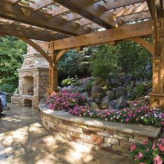 Gorgeous pergola and raised flower beds from Windsor Companies' St. I need a bigger yard. French Cottage Garden, Cottage House, Landscape Plans, Landscape Design, Garden Design, Outdoor Rooms, Outdoor Gardens, Outdoor Living, Outdoor Fire
