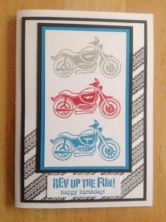 Handmade Birthday Card Male BOY 'Happy Birthday' Motor Bikes Stampin UP | eBay
