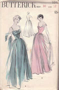 Stunning 1940s Evening Gown Pattern