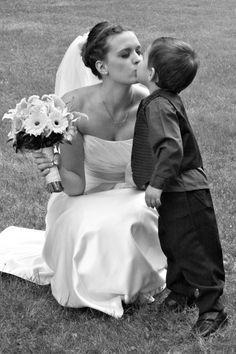 Bride and Ring Bearer. I like the same idea for Groom & Flower Girl (his niece)