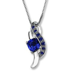 Lab-Created Sapphire Necklace Sterling Silver ❤ liked on Polyvore featuring jewelry, necklaces, accessories, box chain necklace, pendant necklaces, sapphire pendant necklace, lab jewelry and sterling silver sapphire necklace