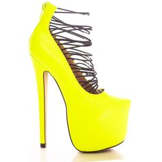 neon yellow strap design platform 6 inch high heel (24 BRL) ❤ liked on Polyvore featuring shoes, pumps, heels, neonyellow, high heel platform pumps, heels & pumps, pointy toe pumps, platform shoes and strappy pumps
