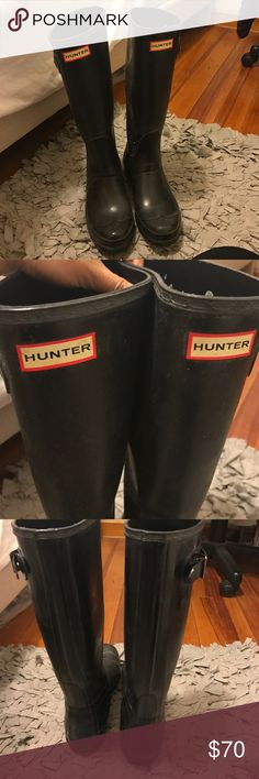 Black tall hunter boots Size 7 black tall glossy hunter boots. Bought them glossy.. not so glossy anymore! I tried cleaning it with the hunter products but still wouldn't clean.. I still wear them because I love them so much but just bought new matte ones so trying to get rid of these:) nothing wrong with them besides it not being glossy anymore.. please make me a reasonable offer! Hunter Boots Shoes Winter & Rain Boots