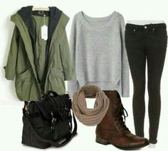 Comfy and cozy outfit. Black skinny jeans, grey sweater, army green jacket and boots.