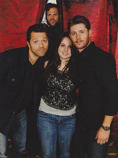 """""""I asked Misha and Jensen if I could stand in between them. When it comes to Jared if he could stand behind me since he was the tallest. At the time Jared came into the discussion a little late though, but he heard what I said. He was like """"get behind you, ok"""" and he literally went behind me. Jared went behind the curtain and poked his head out in time for the photo. I knew Jared was just pulling my strings because I was nervous, but it was hilarious!"""""""