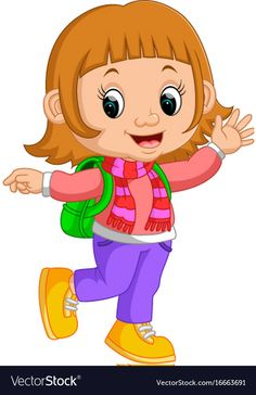Cute girl go to school cartoon vector image on VectorStock Student Cartoon, School Cartoon, Art Drawings For Kids, Art For Kids, Fathers Day Art, Kids Going To School, Cartoon Girl Images, Drawing School, Classroom Board