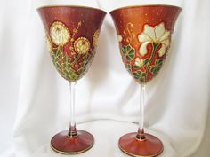 Floral Synergy in Maroon and Terracotta  Hand Painted Crystal Wine Glasses OOAK Maroon and Terracota  Wedding Personalised Wedding Gift