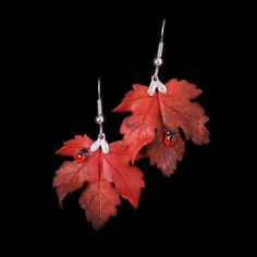 Red Sycamore Leaf and Ladybird Earrings by LadybirdandLeaf on Etsy