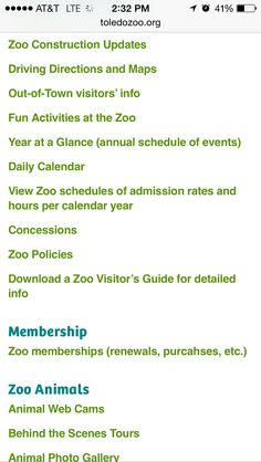 A snapshot taken from a Webpage of The Toledo Zoo. Notice the typo/error?