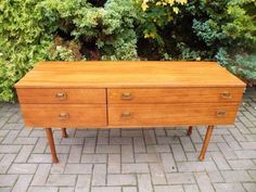 Mid Century Modern 1960's Teak 4 Drawer Sideboard Credenza #DanishModern