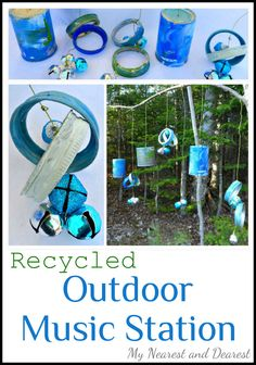 Outdoor Music Station for Kids Made from Recycled Materials. Make this with you kids and play with it all summer!
