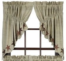 Our Abilene Prairie Swag curtains provide beauty to your country decor. Use them throughout your home with matching accents from Primitive Star Quilt Shop. https://www.primitivestarquiltshop.com/products/abilene-star-scalloped-lined-prairie-swag-curtains #countrystylecurtains