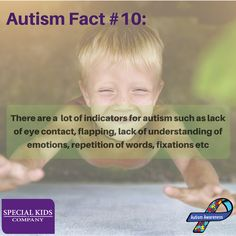 """Autism Fact #10: """"There are a lot of indicators for autism such as lack of eye contact, flapping, lack of understanding of emotions, repetition of words, fixations etc"""". 