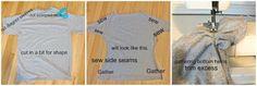 Lixo ao Couture: T-shirt velho dos homens Sewn no T do Dolman das mulheres