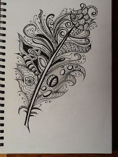 Zentangle feathers  by Carol Cooke57, via Flickr