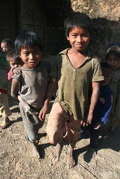 Local children in Longwa, Nagaland