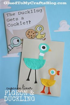 Cupcake Liner Pigeon & Duckling Puppet - super fun, simple and inexpensive BUT it also goes along perfectly with the Mo Williems book series! Preschool Books, Preschool Crafts, Kindergarten Literacy, Library Activities, Preschool Activities, Cupcake Liner Crafts, Cupcake Liners, Cupcake Wrappers, Pigeon Craft