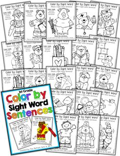 Color by Sight Word Sentences Grade)! Perfect for learning sight words and practicing fluency by reading a sight word sentence! Sight Word Sentences, Teaching Sight Words, Dolch Sight Words, Sight Word Practice, Sight Word Games, Sight Word Activities, Reading Activities, Literacy Activities, Teaching Reading