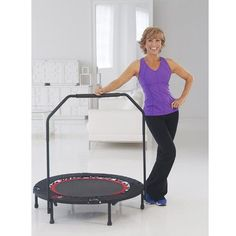"""40"""" Fitness & Exercise  Rebounder Trampoline with Workout DVD & Stabilizing Bar for Men & Women"""