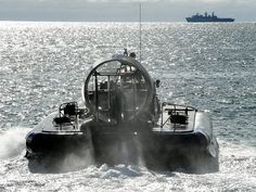 Picture shows a Royal Marine LCAC(LR) hovercraft returning to HMS Bulwark during the Carlyon Bay Wader Exercise in Cornwall.
