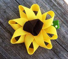 Sunflower Ribbon Sculpture Hair Bow - Flower Hair Clip - Toddler Hairbows... Free Shipping Promo via Etsy