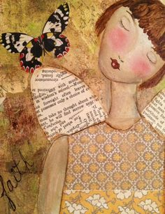 Angel print mixed media painting print angel by JaneLazenbyartist, $18.00