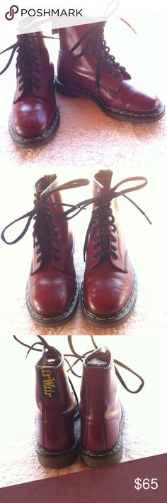 Burgundy Doc Martens AirWair Boots Size 8.5 Burgundy Doc Martens AirWair Boots Size 8.5 Excellent condition very little wrinkling Doc Martens Shoes Lace Up Boots