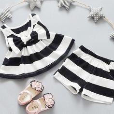 46f4cc3440a2 Classic Summer Baby Girl Stripe Bow Tank Top Dress/Shirt + Shorts 2pc Set  Material