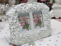 DOUBLE FRAME IN SHABBY WHITE ORNATE PICTURE FRAME~Shabby~Cottage~Chic