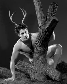 Don Silvas, 1953. Another Bob Mizer image with a faux outdoors feel and implications of a gay paganism which was later realised by the Radical Faeries