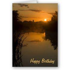 Sunrise by a lake Birthday Card $3.35