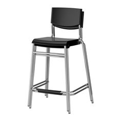 Stig Bar Stool With Backrest, Black, Silver Color
