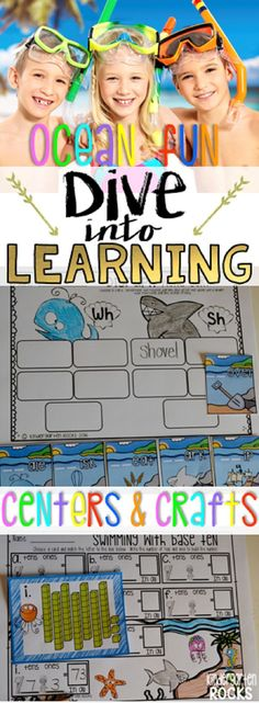 Ocean Math and Literacy Centers is packed full of fun easy to prep centers that students will love! This unit is perfect for students leaving kindergarten, summer school and the beginning of the year in first grade. Check out all of the crafts, large and small group activities and centers!