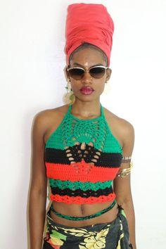 RBG crochet high necktop 100% acrylic