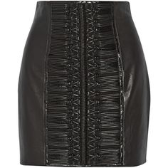 Balmain Embroidered leather mini skirt ($1,180) ❤ liked on Polyvore featuring skirts, mini skirts, saias, black, zipper mini skirt, real leather skirt, balmain, stretchy skirt and short mini skirts