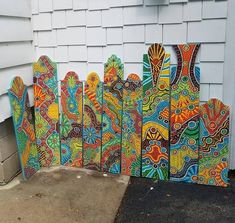 Patio Signs, Porch Signs, Garden Totems, Garden Art, Yard Art Crafts, Painted Boards, Painted Sticks, Outdoor Art, Outdoor Painting