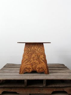 Antique Wood Table / 1900s Pyrography Table / Art by 86home, $525.00