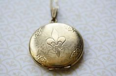 Vintage Fleur De Lis Locket Necklace, Large and 12kt Gold Pendant, Long French Icon, Removable Picture Frame on Etsy, $189.00