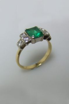 ebay jewelry ring art and diamond engagement emerald style round agq estate antique bhp deco blue green