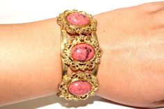 Vintage Couture Coral Art Glass Cabochon Ornate Gold Plated Cuff Bracelet