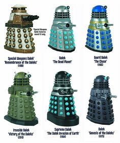 Dalek models, representing 6 key, Doctor Who, Episode story lines.