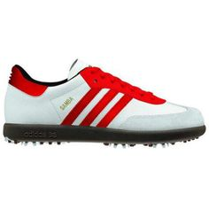 Adidas Samba Golf Shoes - 675619 White / Red / Gum    New Fashion Performance Range from Adidas Golf.    Adidas Samba is a classic old school Adidas shoe, introduced into the golfing world for a contemporary stylish look on the course.    Features and Benefits  Full grain, water resistant leather upper provides a rich look and feel  Classic Samba inspired design  6 Spike configuration with THINTECH low profile technology for improved traction and stability