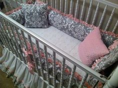 Pink satin and gray damask crib bedding custom made by Posh Petites Boutique. https://www.facebook.com/poshpetitesboutique lmb0828@hotmail.com