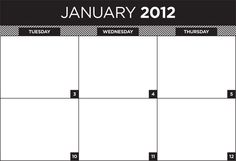 diy printable: january 2012 wall calendar planner