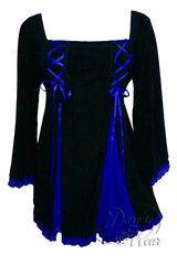 Dare To Wear Victorian Gothic Women's Gemini Princess Corset Top Black/Royal