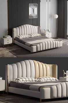 Bed Headboard Design, Bedroom Furniture Design, Modern Bedroom Design, Home Room Design, Master Bedroom Design, Headboards For Beds, Bed Furniture, Modern Luxury Bedroom, Master Bedroom Interior