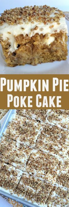 Pumpkin pie poke cake is a delicious pumpkin cake, soaked in a pumpkin spice sweetened condensed milk, and topped with a whipped cream cheese frosting. 13 Desserts, Delicious Desserts, Yummy Food, Plated Desserts, Weight Watcher Desserts, Poke Cake Recipes, Dessert Recipes, Dessert Original, Low Carb Dessert