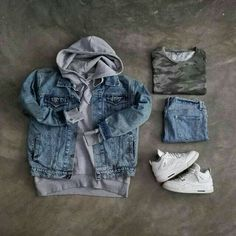 Photo by Menswear Market Jackets are a must-have in the cold weather but it can also be used to accessorize an outfit. Dope Outfits, Casual Outfits, Men Casual, Fashion Outfits, Fashion Trends, Hype Clothing, Mens Clothing Styles, Urban Fashion, Mens Fashion